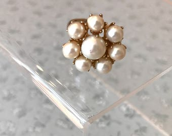 Vintage Pearl Cluster Ring Floral Pearl Design Ring Adjustable Size 5 1/2 Goldtone Metal 1950s Retro Style Ring Twenty Dollar Gifts Birthday
