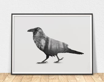 Raven Print - Black Bird Art, Raven Forest Art, Bird Abstract Art, Forest Print, Crow Raven, Black And White, Whimsical Bird Art, Crow Print