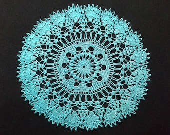 Crochet doily - Round doilies - Medium doily - Blue doily - Home decor - Crochet doilies