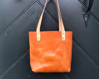 Genuine Leather Small Tote Handbag - Full Grain Leather Bag - British Tan