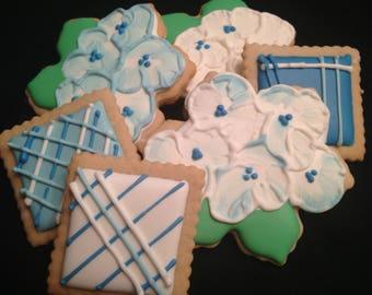 Hydrangea Flowers | Custom decorated flower cookies | | Garden theme | White | Blue