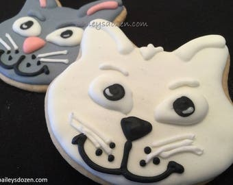 Cat cookies | grey and white kitten |  You're purr - fect | Gift for girlfriend | School treats | pink nose and whiskers