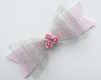 Perspex glitter rose bow