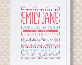 New baby girl personalised print
