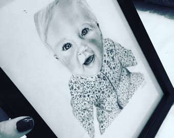 Personalised graphite pencil portrait drawings - portraits of family or friends