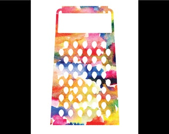Watercolor Cheese Grater Print