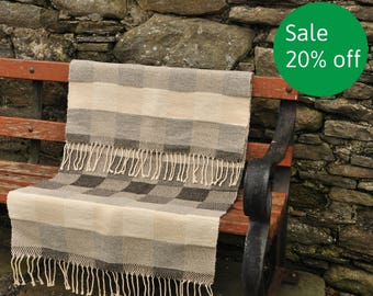 Handwoven rug, 100% undyed wool