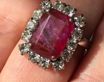 Christian Dior 1971 costume jewellery paste Vintage ruby diamond statement cocktail ring red gem stone ring faceted size U 10 germany signed