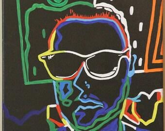 "20"" x 24"", Custom, neon, colorful portrait"