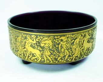 Antique Moser Glass Etched & Gilded Bowl