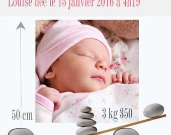 Boy or girl birth announcement magnet