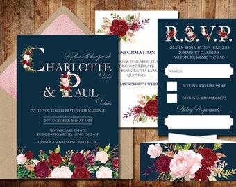 Navy and Burgundy Flower Wedding Invitation
