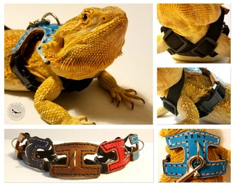 HerpaHarness - Leather Harness for Adult Bearded Dragons and other Reptiles w/ Name Embossment Option