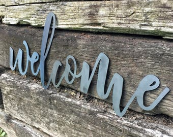Welcome Sign, Steel Welcome Sign, Metal Welcome Sign, Small Welcome Sign