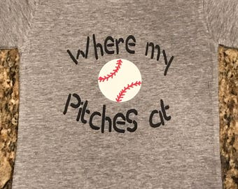 "Child's baseball shirt, ""Where my Pitches at"""