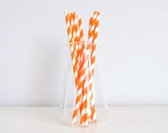 Orange Stripes Paper Straws - Set of 25