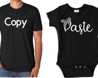 Copy & Paste, silver bow, cursive, shirt sets, matching shirts, funny shirts, Father's Day gift, 1st Father's Day, gifts for men, daddy and
