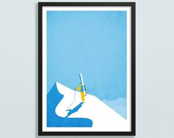 Personalised ski art, skiing gift, ski resort, skiing poster, vintage ski art, gift for snowboarder, mountain art, mountain poster