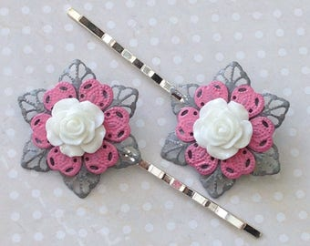 Ladies Hair Grips, Grey Pink White, Girls Bobby Pins, Hand Painted Filigree Flower, Bridesmaid gift, Unique Hair Accessories, Gift for her