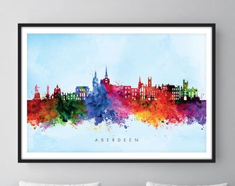 Aberdeen Skyline, Aberdeen Scotland Cityscape Art Print, Wall Art, Watercolor, Watercolour Art Decor [SWABZ03]