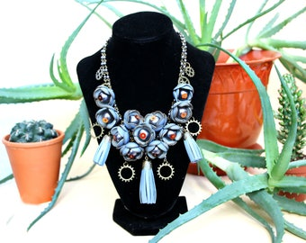Leather necklace, leather jewelry, necklace with flowers, necklace with leather flowers, light blue necklace, necklace with tassels Gabi