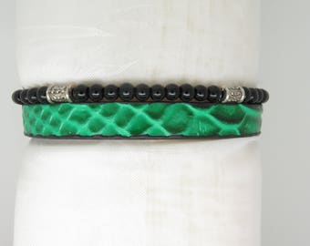 MENS BRACELET GREEN EFFECT WITH BLACK PEARLS REPTILE LEATHER