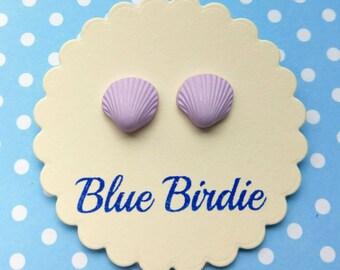 Seashell earrings seashell jewellery seashell jewelry purple sea shell earrings earrings beach jewellery seaside earrings shell earrings