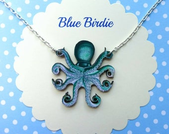 Octopus necklace octopus jewelry blue octopus bib necklace octopus jewellery octopus gifts sea creature necklace nautical necklace