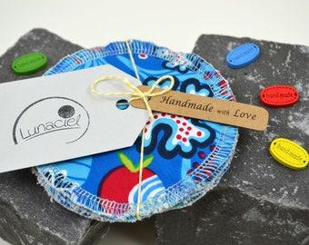 Peelingpads from organic cotton, 5 pieces, Kosmetikpad, Abschminkpad, family, Wellness, bath, peelen, coloured, cream, green, blue, red