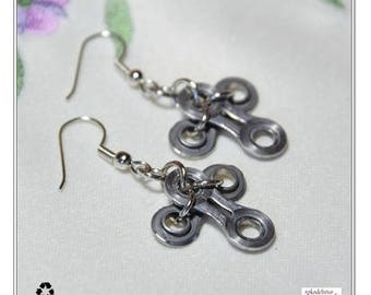 Bicycle Earrings, Bicycle Chain Earrings, Recycled Jewelry, Eco Friendly Upcycled Earrings, Gift for Cyclists, Bicycle Parts Earrings