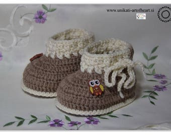 Crochet Baby Shoes / Natural Sheep Wool / Newborn Baby Shoes / Baby Booties / Unisex Baby Booties / Baby Shoes / Infant Shoes / Crib Shoes