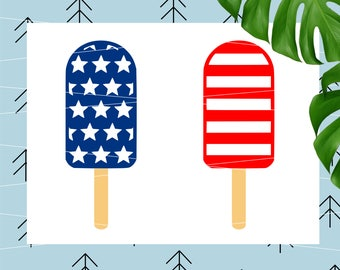 4th of July SVG Ice Cream svg Summer svg Fourth of July popsicle svg Monogram svg for Cricut Silhouette vector cut files svg dxf eps lfvs