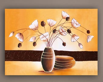 abstract painting, acrylic painting, flowers painting