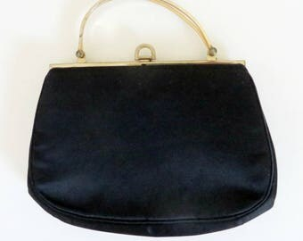 Morris Moskowitz Purse, Vintage Black Satin Purse, Evening Bag, Mid Century Handbag, Top Handled Purse, Designer Handbag