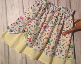 Girl's Skirt, Child's Skirt, Child's Summer Skirt, Child's Party Skirt, Little Birds /Lemon Skirt.
