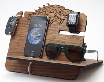Wooden Docking Station, Game of thrones, Winter is coming, Got, Stark, Game of thrones gift, Got gift,Stark Gift