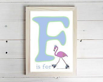 F is for Flamingo Alphabet Print - Unframed Art Print, Flamingo Drawing, Nursery Picture, Animal Wall Art, Children's Decor, Kid's Bedroom