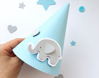 Blue Gray Party Hats Elephant Baby Boy 1 st Birthday Decorations Elephant Baby Shower Kids Paper Cone Party Hats One Year Boy Birthday