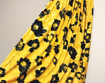 70s Bright Yellow and Black Floral Maxi Skirt Size Small / Hippy Bohemian Ankle Length Skirt / A-Line Skirt