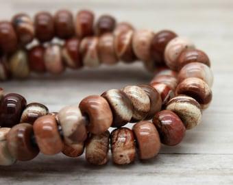 "Leopard Jasper Rondelle Gemstone Beads 8"" strand (5mm x 8mm beads, 2.5 mm hole)"