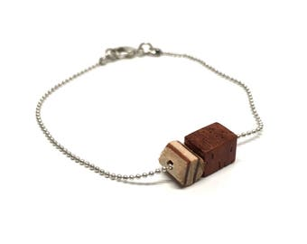 Bracelet made of wood, padoek and maple, in silver or gold