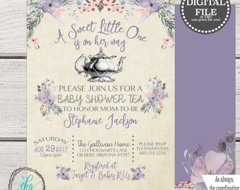 Baby Shower Tea Party Invitation, Baby Shower Tea Party Invite, Baby Shower Tea Party Signs, Baby Shower Digital Download, BABY001