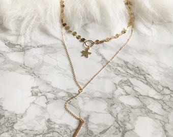 Lauren Star and Coin Choker Necklace