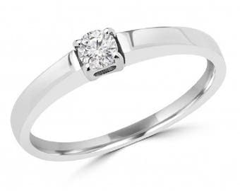 Beautiful 0.16 Carat Round Brilliant Diamond Solitaire Engagement Ring In 14 K White Gold