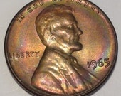 1965-P  Lincoln Memorial Cent, Gem Uncirculated, Rainbow Toning,  The Coin You See is the Coin You Get  #MET0232