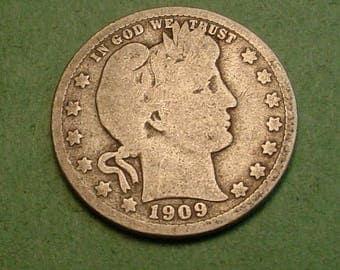 Barber Quarter 1909-D  <> # ET3767