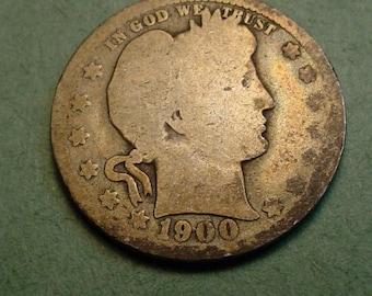 1900-O Barber Quarter  Original<>ET6329