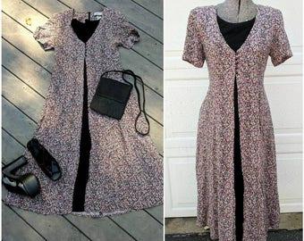 Vintage 90's Floral Ankle Length Dress || Purple Floral Medieval Dress, Size 6