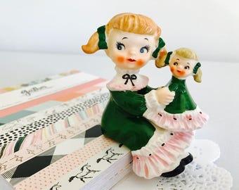 REDUCED- Vintage Norcrest Girl with Doll Shelf Sitter Green Dress Figurine Japan 1950's