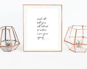 Song Lyrics Wall Art. Song Lyric Wall Art. Wiz Khalifa Song Lyrics. See You Again. Song Lyrics Print. Song Lyrics Art. Song Lyrics Quotes.